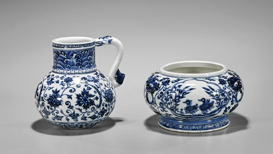 Two Ming-Style Porcelains: Basin & Ewer