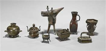Eight Old  Antique Miniature Bronzes