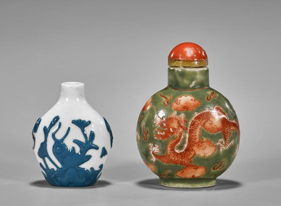 Three Snuff Bottles: Glass & Porcelain - 3