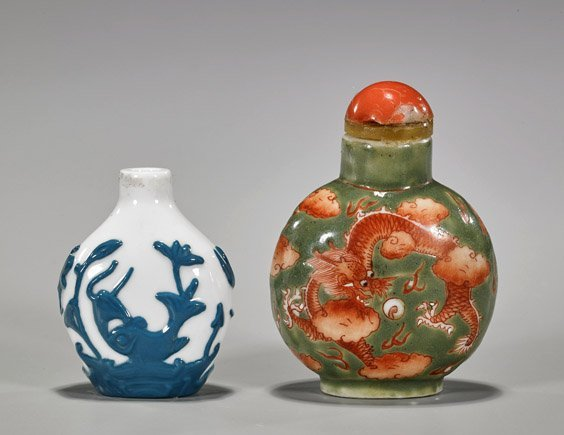 Three Snuff Bottles: Glass & Porcelain - 4