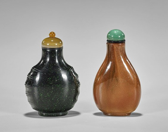 Five Carved Snuff Bottles: Glass & Stone