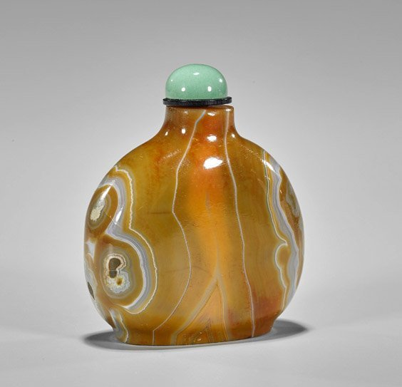 Five Carved Snuff Bottles: Glass & Stone - 2