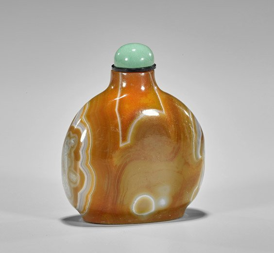 Five Carved Snuff Bottles: Glass & Stone - 3