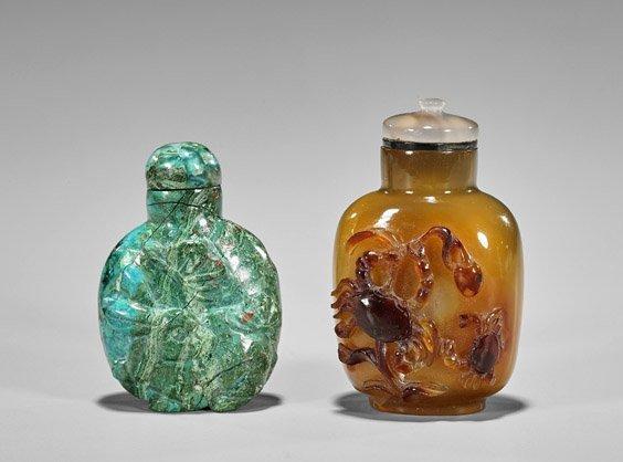 Five Carved Snuff Bottles: Glass & Stone - 4