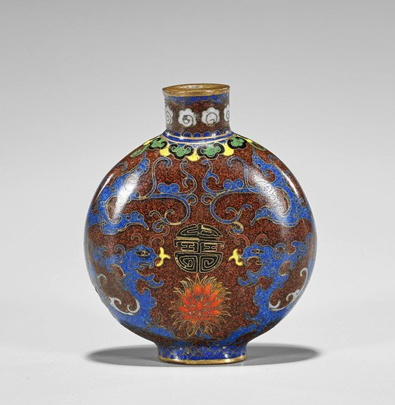 Three Snuff Bottles: Glass, Cloisonné & Porcelain - 2