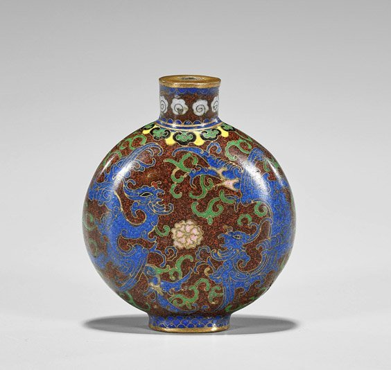 Three Snuff Bottles: Glass, Cloisonné & Porcelain - 3
