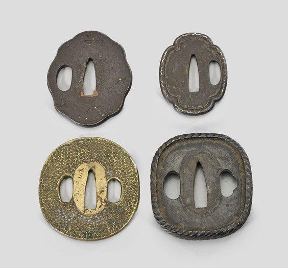 Four Antique Japanese Bronze & Iron Tsuba