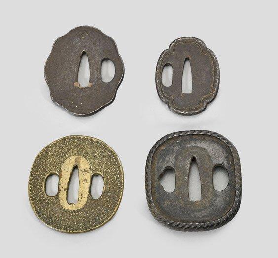 Four Antique Japanese Bronze & Iron Tsuba - 2