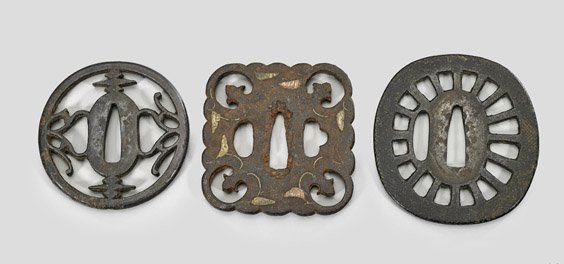 Three Antique Japanese Iron Tsuba