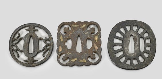 Three Antique Japanese Iron Tsuba - 2