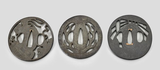 Three Antique Japanese Iron Tsuba - 2