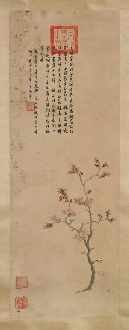 Two Chinese Paper Scrolls: Flowers - 3