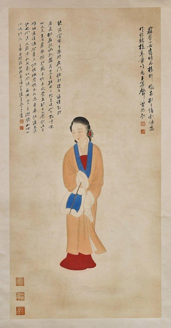 Three Chinese Paper Scrolls: Beauties & Deity