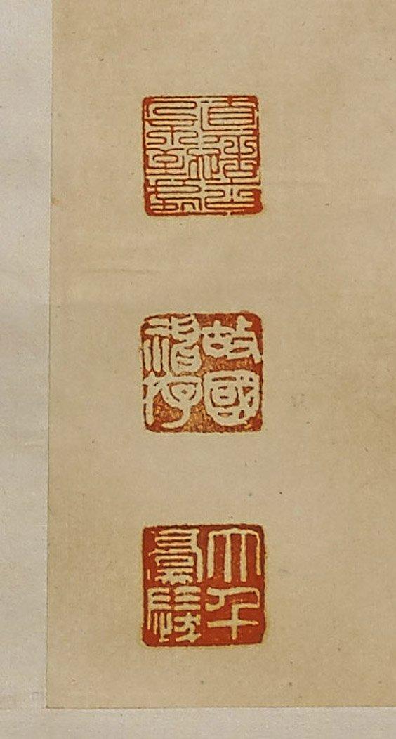Three Chinese Paper Scrolls: Beauties & Deity - 3
