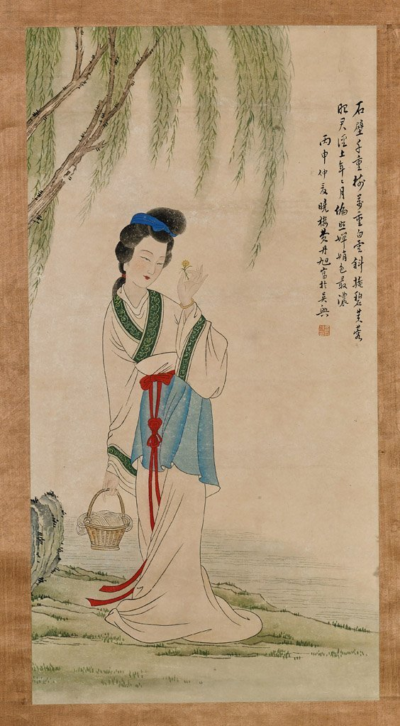Three Chinese Paper Scrolls: Beauties & Deity - 4