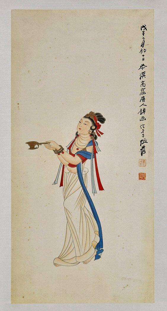 Three Chinese Paper Scrolls: Beauties & Deity - 6