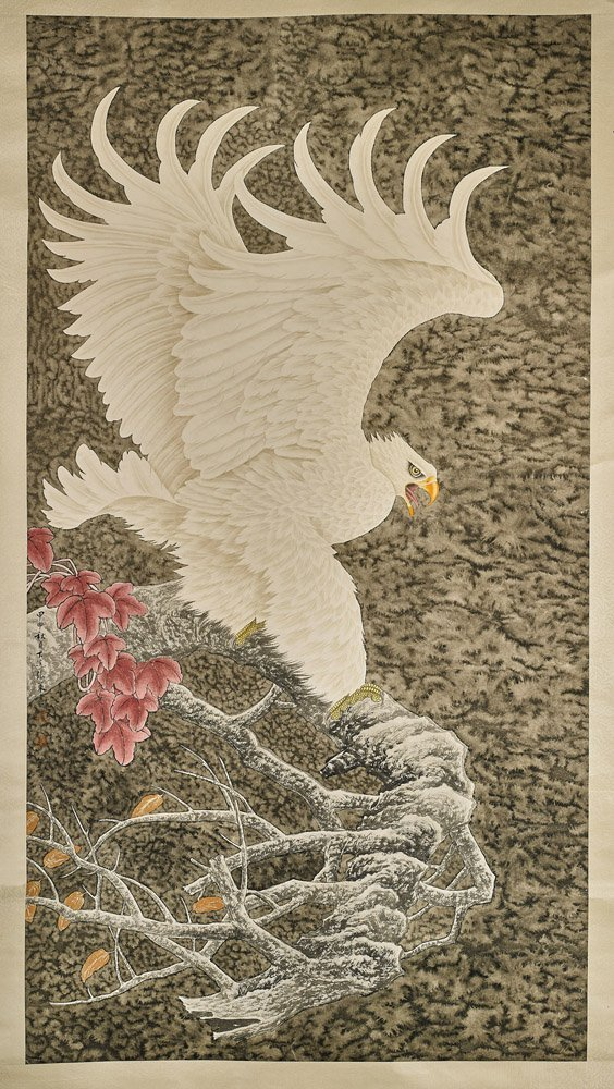 Large Chinese Paper Scroll: Eagle