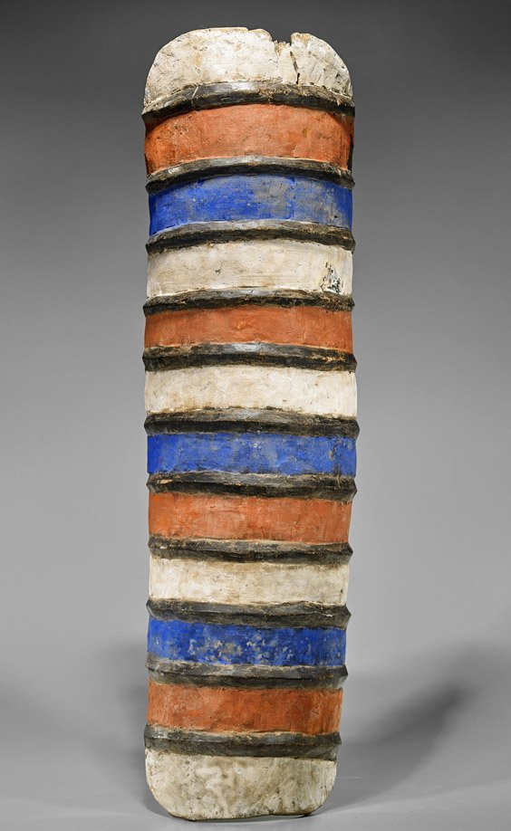 Tall African Painted Wood Shield