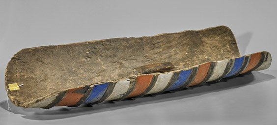 Tall African Painted Wood Shield - 2
