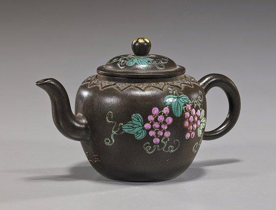 Unusual Chinese Enameled Yixing Teapot