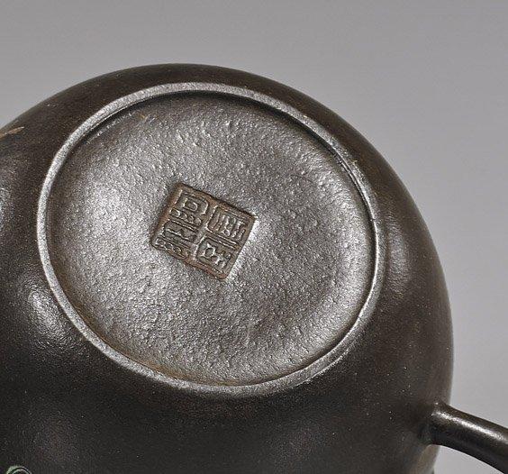 Unusual Chinese Enameled Yixing Teapot - 2