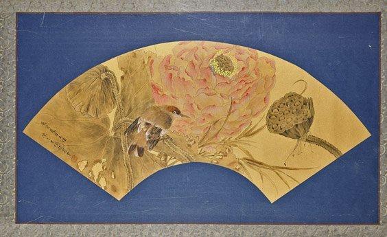 Chinese Paper Fan Painting: Bird & Lotus