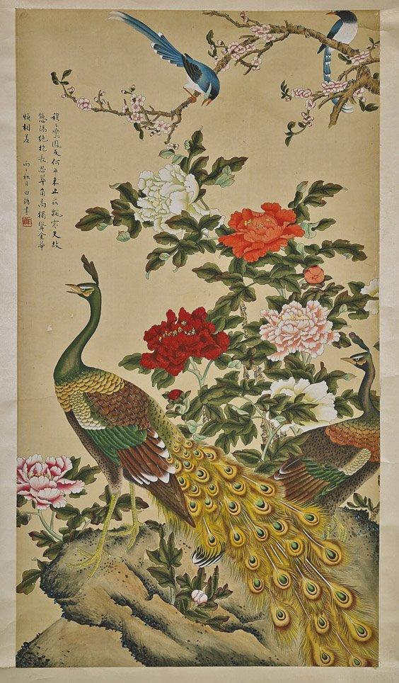 Chinese Silk Scroll: Peacocks & Birds