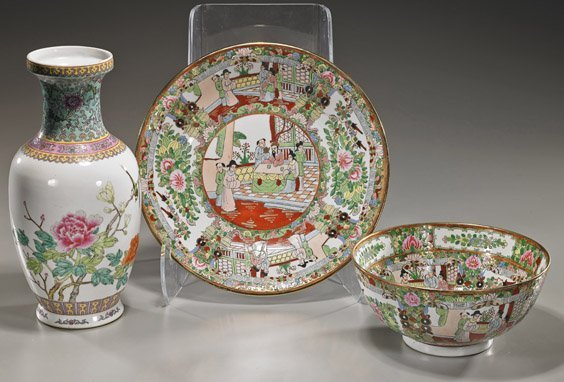 Group Various Chinese Scrolls & Porcelains - 6