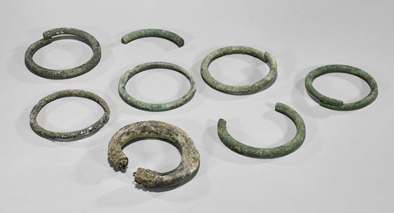 Seven Ancient Armlets: Silver & Bronze