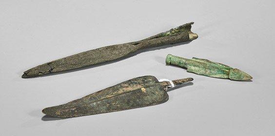 Three Ancient Spearheads: Roman & Luristan