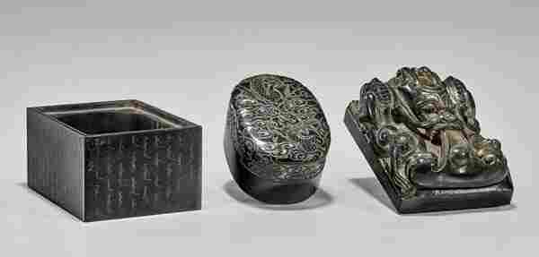 IMPERIAL-STYLE CARVED JADE SEAL SET