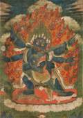 ANTIQUE SINOTIBETAN PAINTED THANGKA