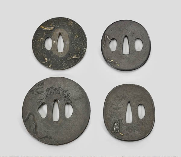 FOUR ANTIQUE JAPANESE IRON TSUBA - 2
