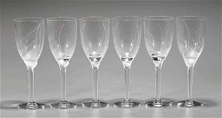 """SIX LALIQUE CRYSTAL """"ANGE"""" CHAMPAGNE FLUTES"""