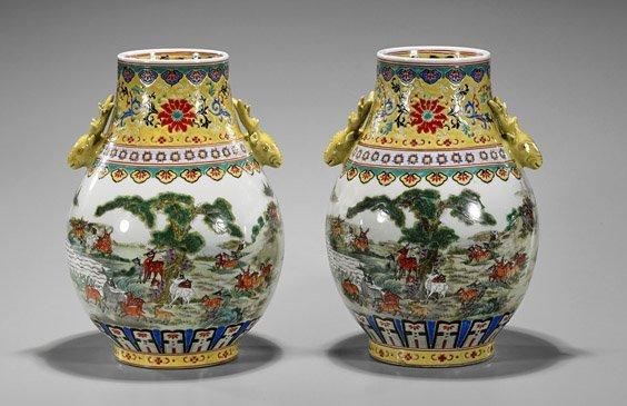 Pair Qianlong-Style Famille Rose Jars