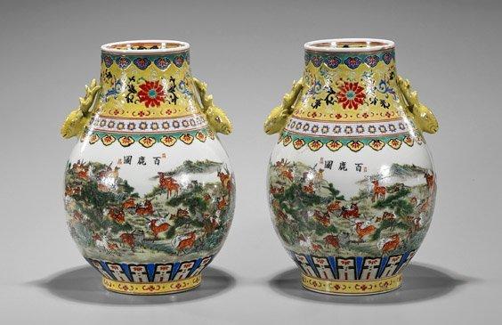 Pair Qianlong-Style Famille Rose Jars - 2