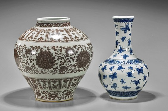 Two Chinese Porcelain Vases: Butterflies & Dahlias