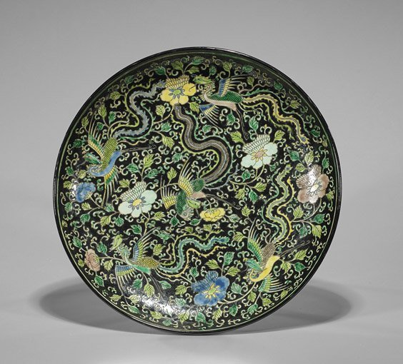 Kangxi-Style Famille Noire Enameled Charger