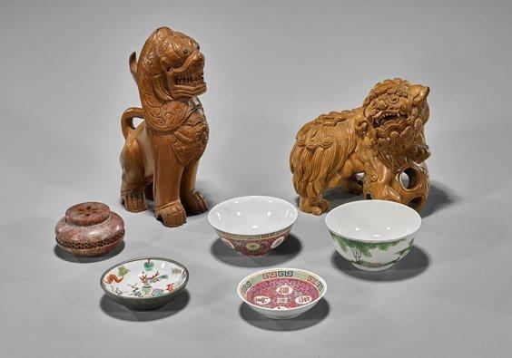 Seven Items: Wood, Porcelain & Soapstone