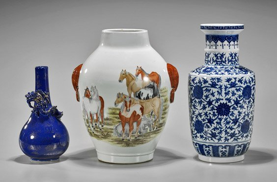 Three Chinese Qianlong-Style Porcelain Vases