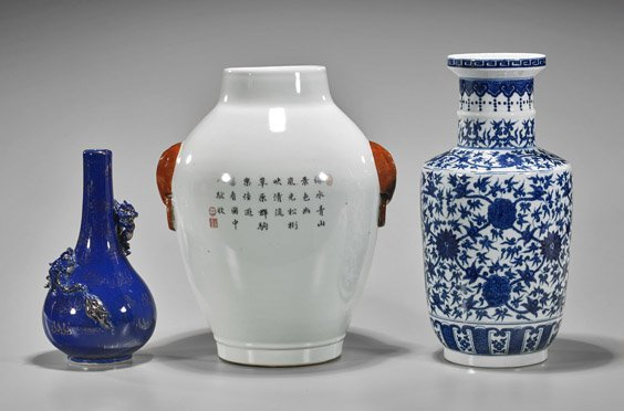 Three Chinese Qianlong-Style Porcelain Vases - 2