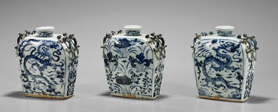 Three Small Yuan-Style Blue & White Flasks
