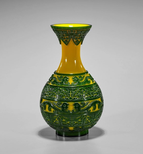 Chinese Beijing Glass Yellow & Green Overlay Vase