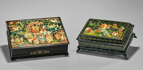 Two Russian Painted Lacquer Boxes