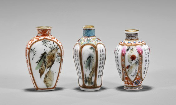 Three Enameled Porcelain Snuff Bottles