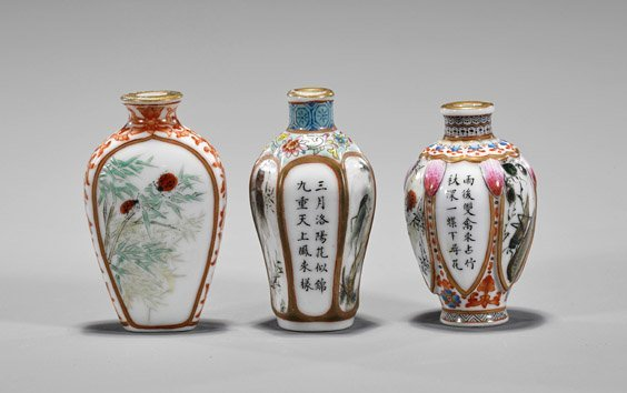 Three Enameled Porcelain Snuff Bottles - 2