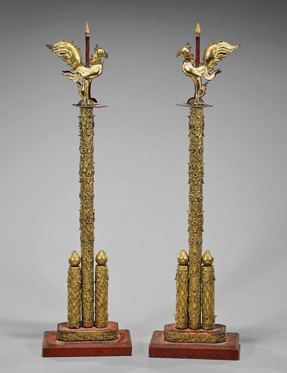 Pair Antique Thai Gilt Ornamental Staffs