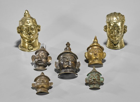 Seven Old & Antique Indian Lingam Bronzes