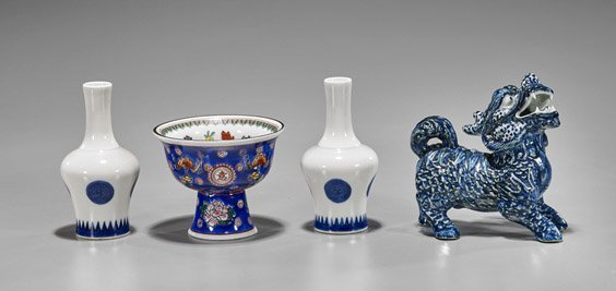 Four Chinese Qing-Style Porcelains