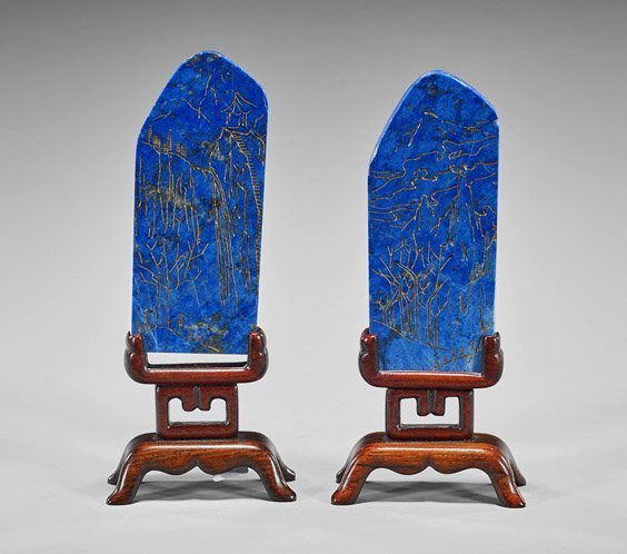 Pair Chinese Gilt Carved Lapis Lazuli Plaques